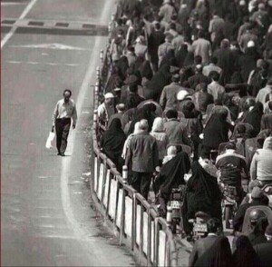 Better to walk alone then with a crowd going the wrong way
